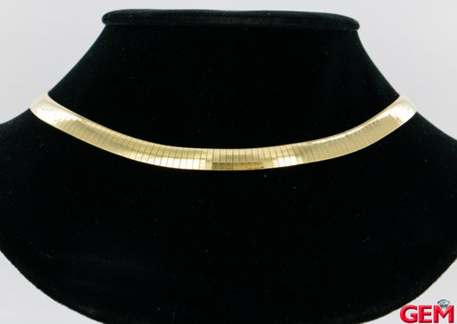 "Vintage 14k 585 Yellow Gold Herringbone Classic Collar 14"" Solid Chain Necklace - Pre-Owned for sale at Gem Pawn"