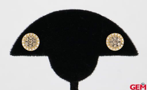 LeVian Chocolate Diamond 5/8ctw Cluster Stud Earrings 14k 585 Honey Yellow Gold - Pre-Owned for sale at Gem Pawn