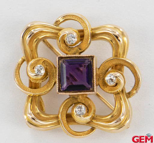 Art Nouveau Amethyst Solid Yellow Gold 14k 585 Diamond Lapel Pin Brooch Antique - Pre-Owned for sale at Gem Pawn