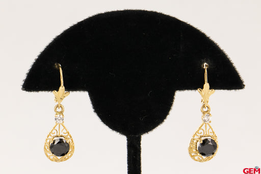 Cubic Zirconia CZ Black Stone Filigree Scroll Drop 14k 585 Yellow Gold Earrings - Pre-Owned for sale at Gem Pawn