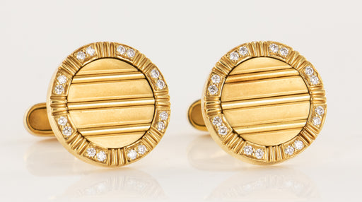 Napoleon 18k 750 Solid Mens Tuxedo French Cuff Diamond Cufflinks - Pre-Owned for sale at Gem Pawn