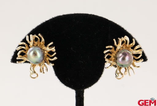 Vintage Sun Flower Leave Yellow Gold 585 14k Tahitian Pearl Earrings 9mm - Pre-Owned for sale at Gem Pawn