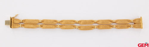 "FF 20vi Solid Yellow Gold Woven Braided Mesh Ribbon Bracelet 18k 750 7.5"" - Pre-Owned for sale at Gem Pawn"