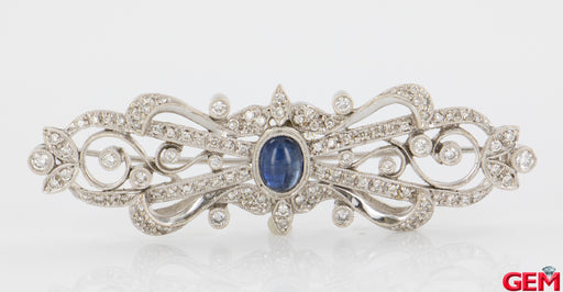 Antique 18k 750 Filigree White Gold Diamond Sapphire Lapel Pin Brooch - Pre-Owned for sale at Gem Pawn