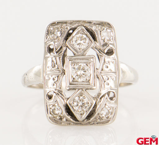 Art Deco Antique 14k 585 White Gold Diamond Ring Size 5 - Pre-Owned for sale at Gem Pawn