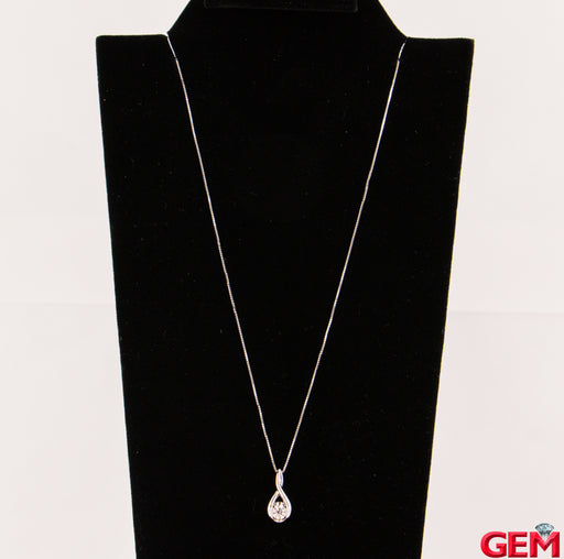 "Sirena 14k 585 White Gold 1/5 Diamond Drop Pendant 18"" Necklace - Pre-Owned for sale at Gem Pawn"