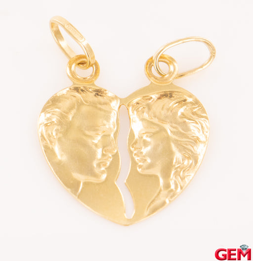 Vintage Split Charm Partner Heart Solid 14k 585 Yellow Gold Pendant - Pre-Owned for sale at Gem Pawn