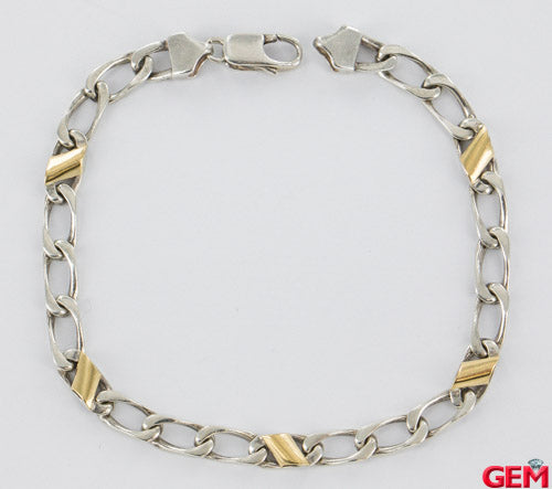 Vintage Tiffany & Co Sterling Silver 925 750 18k Yellow Gold Figaro Bracelet8.5""