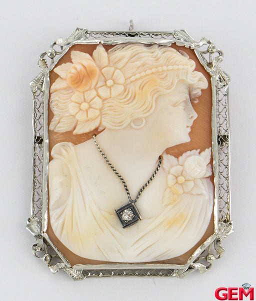 Extra Large Victorian 14k 585 White Gold Diamond Cameo Filigree Brooch Pendant Pin - Pre-Owned for sale at Gem Pawn