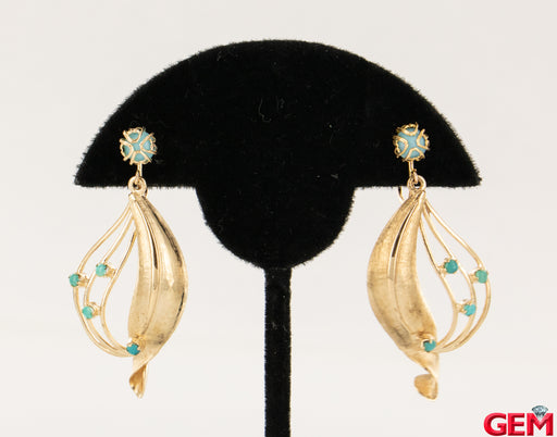 Vintage 14k 585 Turquoise Yellow Gold Drop Earrings Ear Clip Earrings