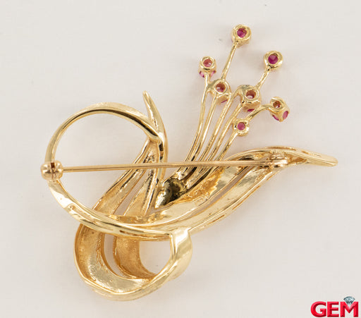 Vintage 14k 585 Yellow Gold Pink Sapphire Floral Lapel Pin Brooch - Pre-Owned for sale at Gem Pawn