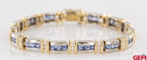 "Tanzanite & Diamond White Yellow Gold 14k 585 Tennis Row Station Bracelet 7"" - Pre-Owned for sale at Gem Pawn"