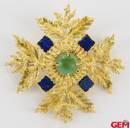 Vintage FC Solid 18k 750 Yellow Gold Lapis Lazuli Lapel Pin Brooch - Pre-Owned for sale at Gem Pawn