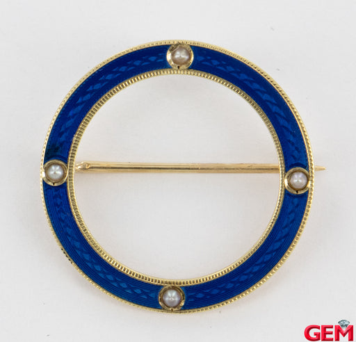 Art Nouveau 14k 585 Yellow Gold Blue Enamel Seed Pearl Lapel Pin Brooch - Pre-Owned for sale at Gem Pawn