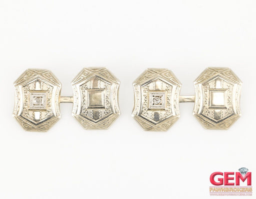 10 KT White Gold Diamond Men's Cufflinks - Pre-Owned for sale at Gem Pawn
