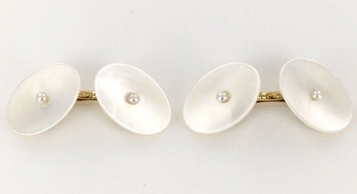 14 KT Yellow Gold Shell Mother of Pearl Bridge Cufflinks - Pre-Owned for sale at Gem Pawn