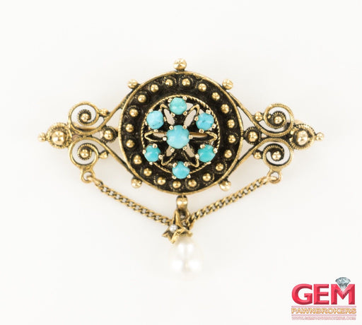 14 KT Yellow Gold Turquoise Pearl Lapel Pin Brooch - Pre-Owned for sale at Gem Pawn