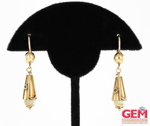 Victorian 18KT Yellow Gold Drop Dangle Pearl Earrings - Pre-Owned for sale at Gem Pawn