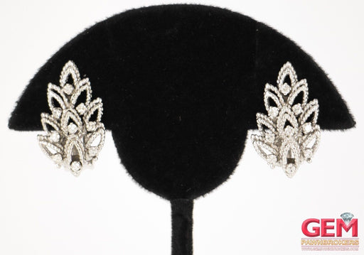 14 KT White Gold Diamond Ear Clip Earrings - Pre-Owned for sale at Gem Pawn
