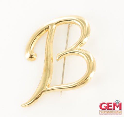 18 KT Yellow Gold Initial Letter B Lapel Pin Brooch - Pre-Owned for sale at Gem Pawn
