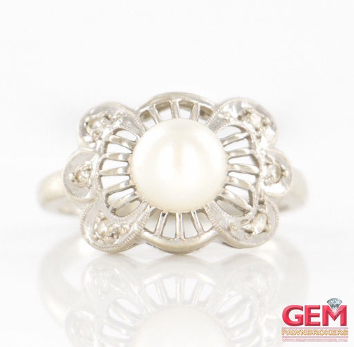 Wittnauer 14 KT White Gold Pearl Diamond Ring - Pre-Owned for sale at Gem Pawn