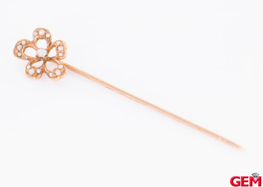 Antique Solid 14k 585 Yellow Gold Seed Pearl Stick Lapel Pin Brooch - Pre-Owned for sale at Gem Pawn