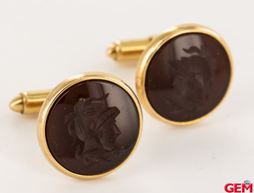 Carnelian Intaglio Roman Solider Mens Tuxedo 14k 585 Yellow Gold Cufflinks - Pre-Owned for sale at Gem Pawn