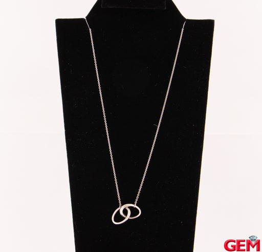 "Tiffany & Co Sterling Silver 925 Elsa Peretti 16"" Interlocking Oval Necklace Chain - Pre-Owned for sale at Gem Pawn"