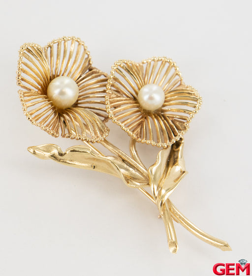 Vintage Geranium Pearl Solid Yellow Gold 14k 585 Lapel Pin Brooch - Pre-Owned for sale at Gem Pawn