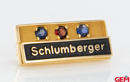 Schlumberger 14k 585 Yellow Gold Garnet Sapphire EMB CTO Lapel Pin Brooch - Pre-Owned for sale at Gem Pawn
