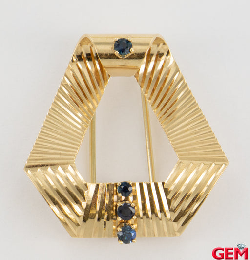 Retro 14k 585 Yellow Gold Vintage Sapphire Lapel Pin Brooch - Pre-Owned for sale at Gem Pawn