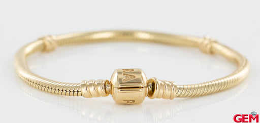 "Pandora Solid 14k Yellow Gold G585 ALE 17cm 6.7"" Moments Charm Bracelet Barrel Clasp - Pre-Owned for sale at Gem Pawn"