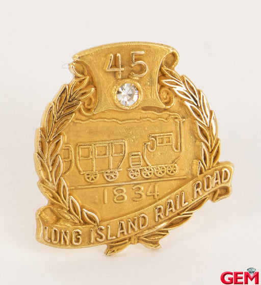 Vintage LIRR Long Island Rail Road 14k 585 Yellow Gold Diamond 45 Year Pin Brooch - Pre-Owned for sale at Gem Pawn
