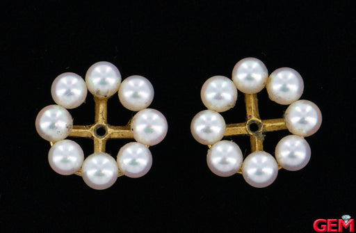 Mikimoto 18k 750 Yellow Gold Earrings Jackets 4mm Pearls - Pre-Owned for sale at Gem Pawn