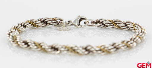 "Tiffany & Co Sterling Silver 925 18k Gold Rope Twisted 4.8mm 7"" - Pre-Owned for sale at Gem Pawn"