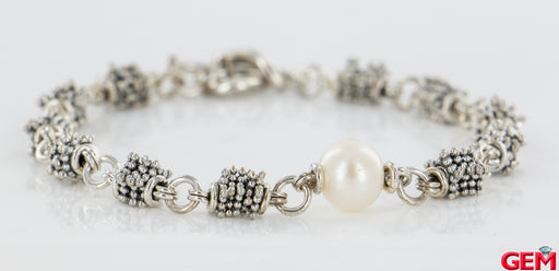 "Michael Dawkins Sterling Silver 925 Pearl Toggle Bracelet Station Link 7.5"" - Pre-Owned for sale at Gem Pawn"