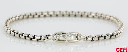 "David Yurman Sterling Silver 925 Box Wheat Metro Chain Bracelet 8"" 3.2mm - Pre-Owned for sale at Gem Pawn"