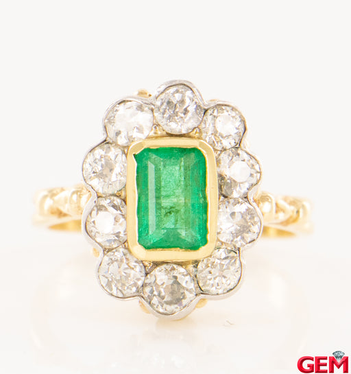 Antique 14k 585 Old Euro Cluster Diamond & Emerald Ring Size 7 - Pre-Owned for sale at Gem Pawn
