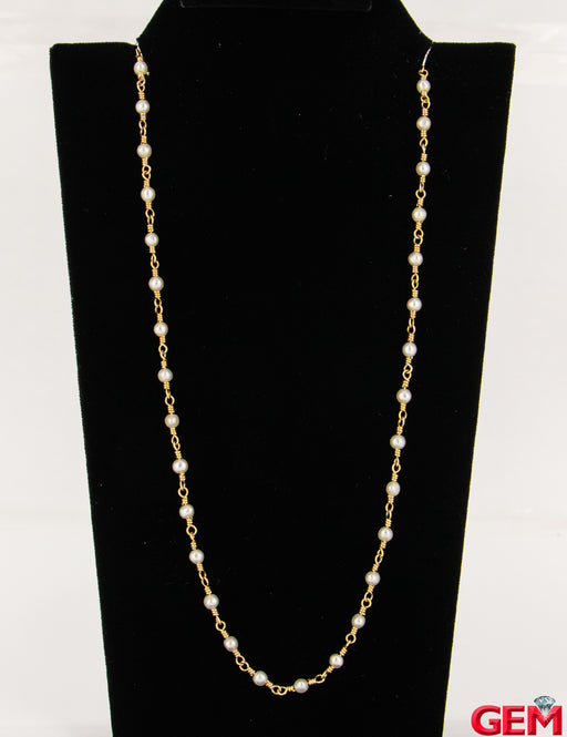 "Vintage Tiffany & Co Pearl Station Necklace Chain Collar 14"" 750 18k Yellow Gold - Pre-Owned for sale at Gem Pawn"