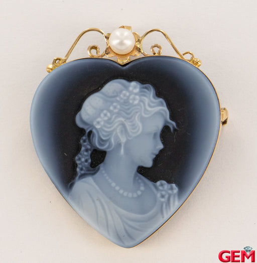 Vintage Blue Agate 14k 585 Italy Charm Lapel Pin Brooch Lady Pearl Gold