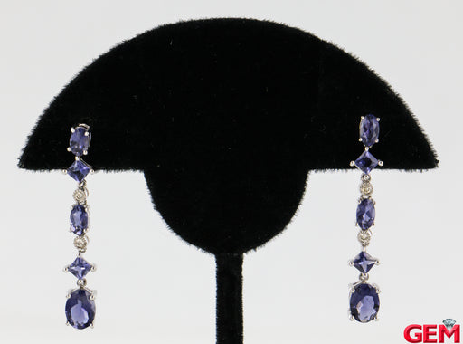 Tanzanite Diamond Cascade 18k 750 White Gold Drop Earrings - Pre-Owned for sale at Gem Pawn
