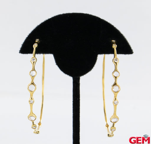 Ippolita 18k 750 Glamazon Stardust Rock Candy Diamond Hoop Earrings - Pre-Owned for sale at Gem Pawn