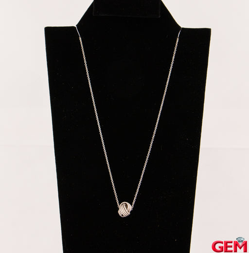 "Tiffany & Co Somerset Ball Yarn Sterling Silver 925 Necklace Chain Pendant 16"" - Pre-Owned for sale at Gem Pawn"