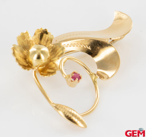 Retro Flower 14k 585 Yellow Gold Brooch Lapel Pin Brooch - Pre-Owned for sale at Gem Pawn