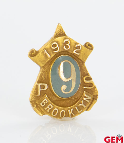 Antique 1932 New York Public School Brooklyn PS9 Lapel Pin Tie Tac 14k Gold 585 - Pre-Owned for sale at Gem Pawn