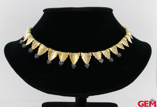Italian 18k 750 White Yellow Gold Revival Leaf Motif Fringe Necklace Sapphire Collar - Pre-Owned for sale at Gem Pawn