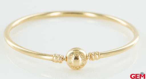 "Pandora Solid 14k Yellow Gold G585 ALE 18cm 7.1"" Moments Charm Bangle Bracelet - Pre-Owned for sale at Gem Pawn"