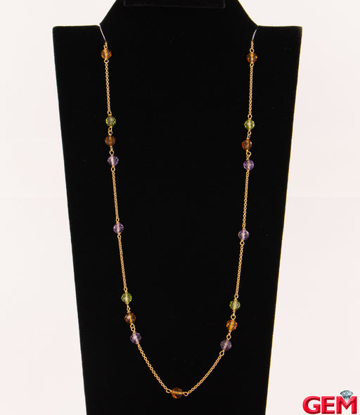"Tiffany & Co 18k 750 Gold Faceted Bead Amethyst Citrine Peridot Necklace 24"" - Pre-Owned for sale at Gem Pawn"
