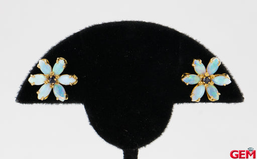 Marquise Opal Round Sapphire 14k 585 Yellow Gold Stud Floral Earrings - Pre-Owned for sale at Gem Pawn