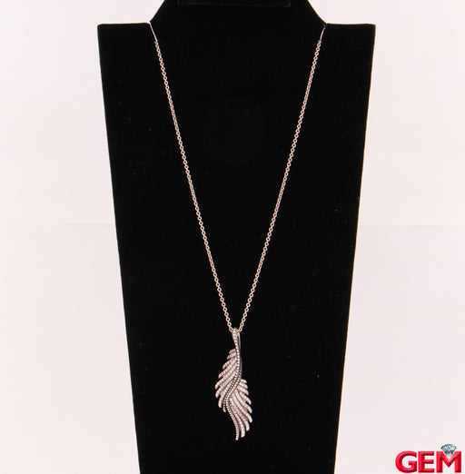 "Pandora Majestic Feathers Cubic Zirconia Sterling Silver 925 Necklace 18"" - 26"" - Pre-Owned for sale at Gem Pawn"
